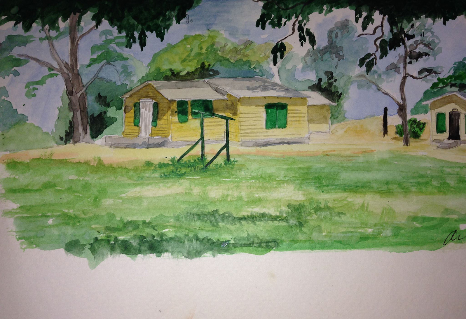 Watercolor painting of a house